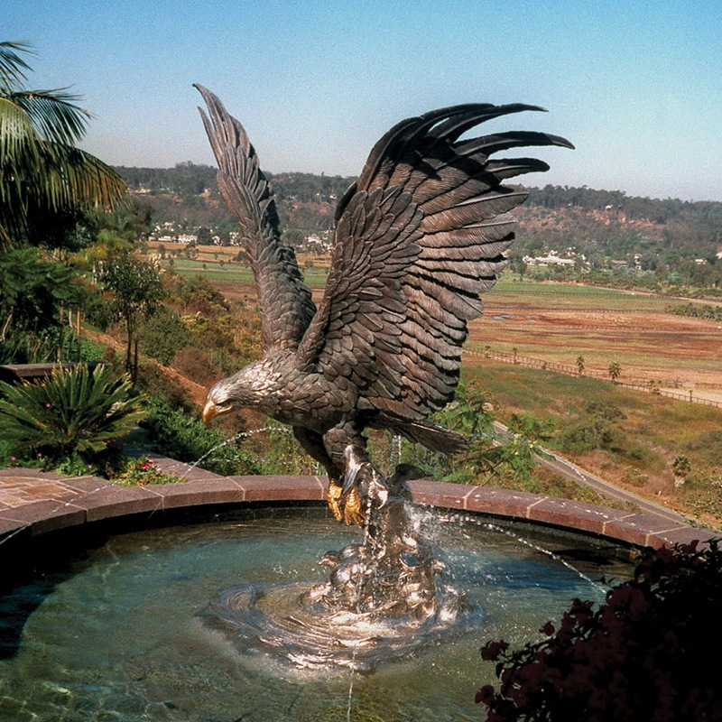 eagle fountain bronze statue