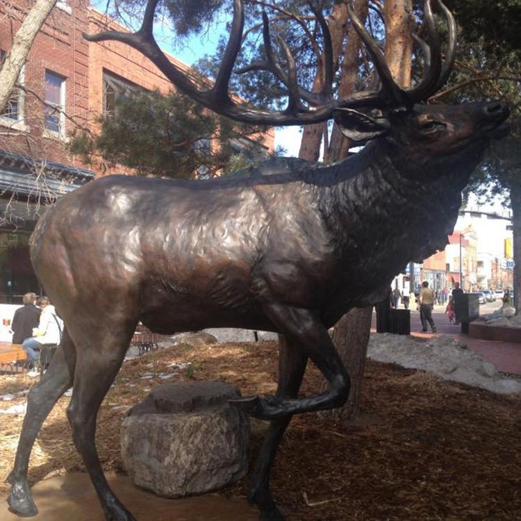 outdoor bronze elk statue