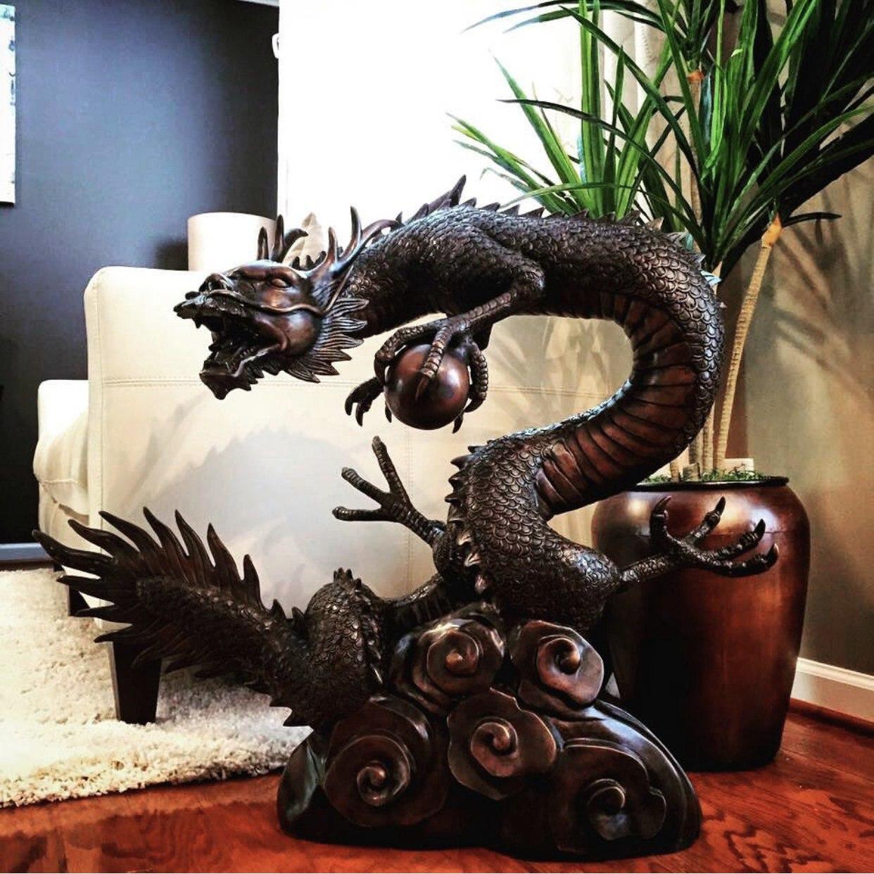 small dragon bronze sculpture