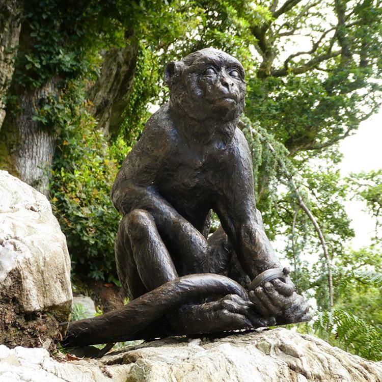 monkey sculpture bronze statue