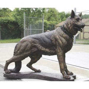 dog statue sculpture bronze german shepherd