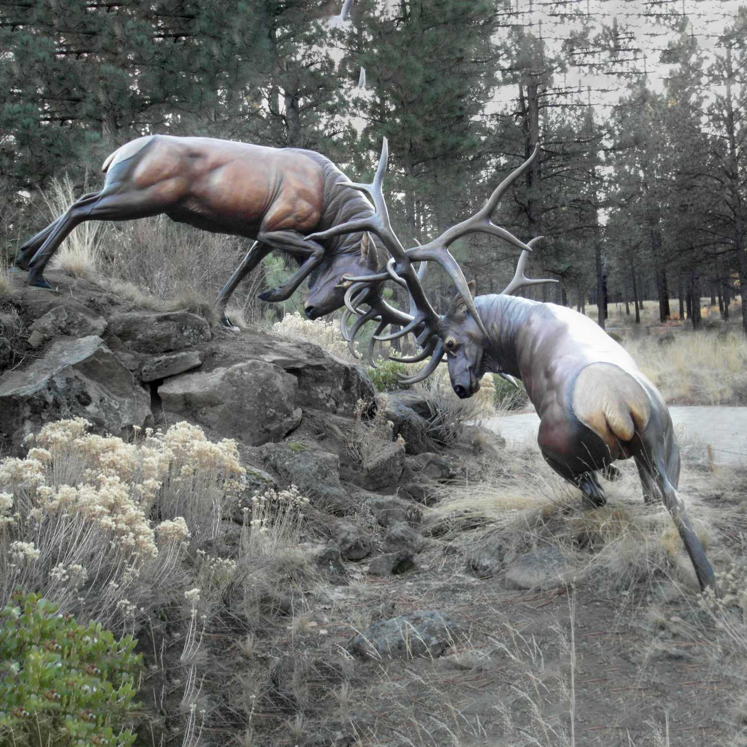 Sculptures Of Deers Bronze Fighting Statue