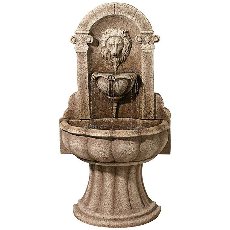 Stone lion water fountain