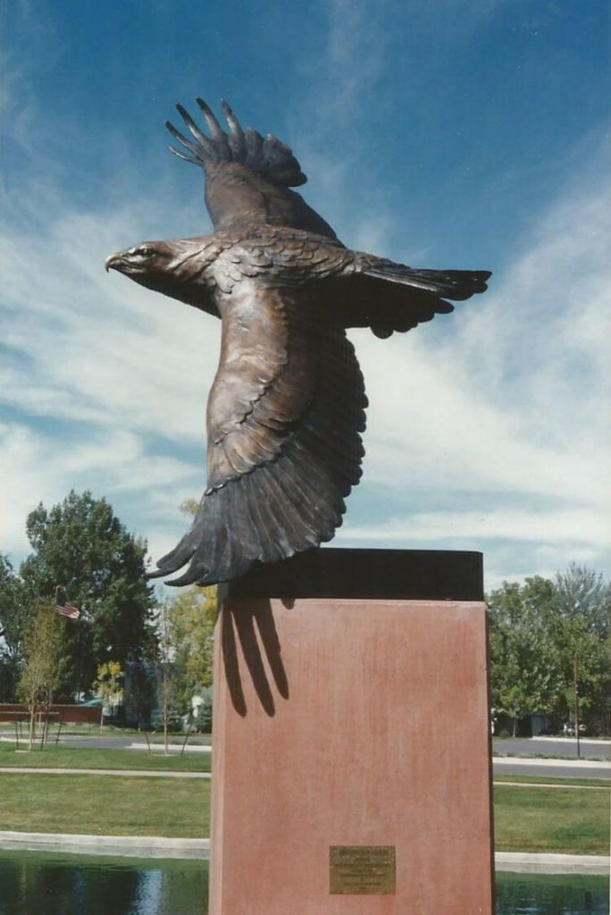 Copper metal sculpture eagle