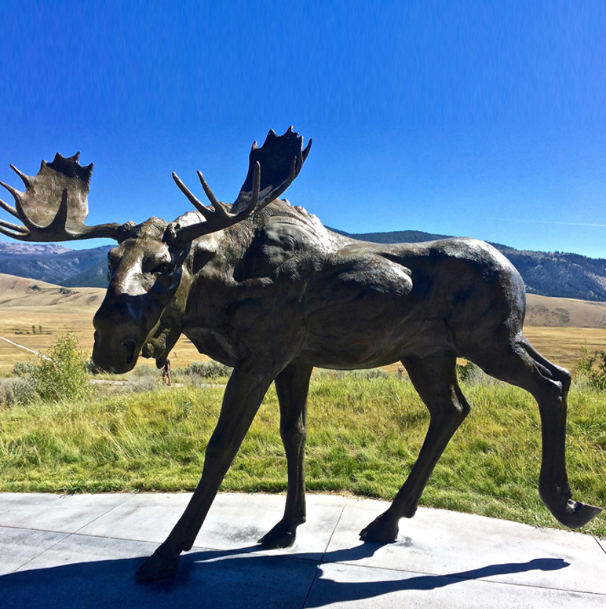 Modern sculpture of deer