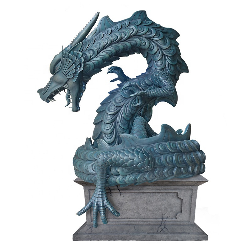vivid blue dragon sculpture