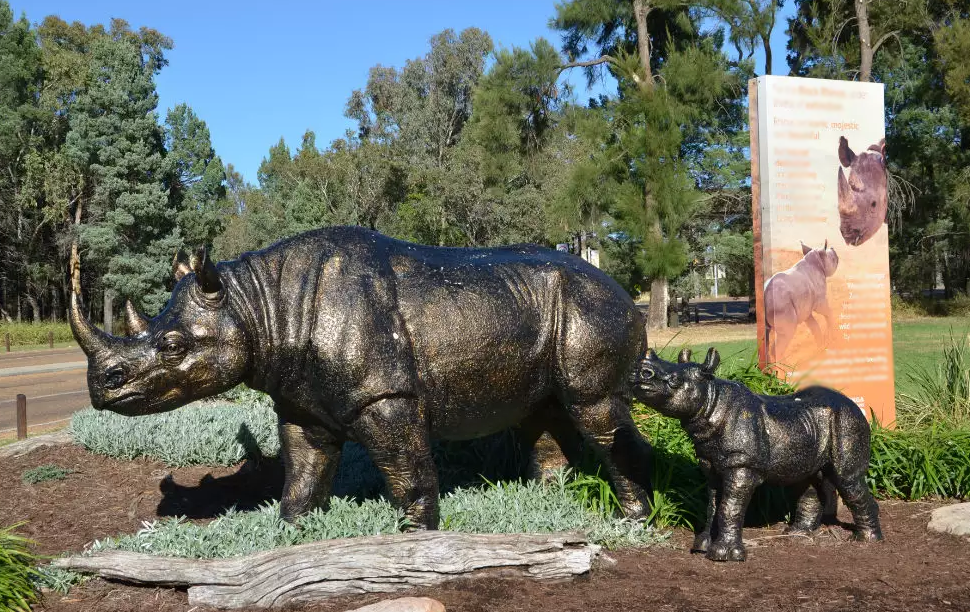 Two rhinos statue