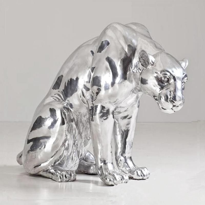 Silver leopard sculpture