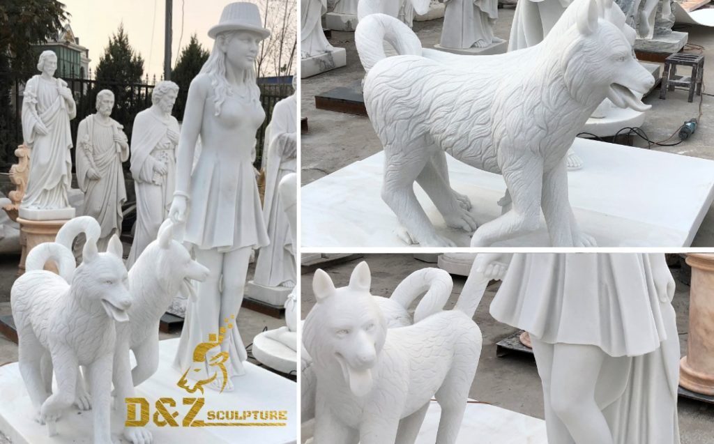 dog statue with a girl