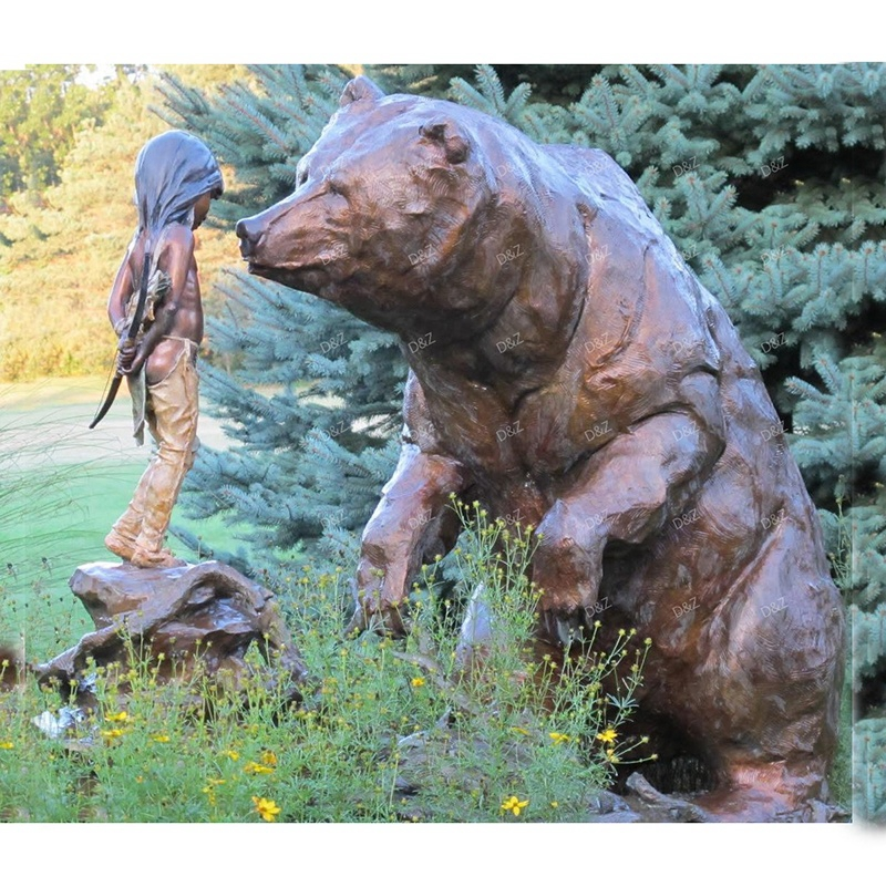 bear statue with a girl