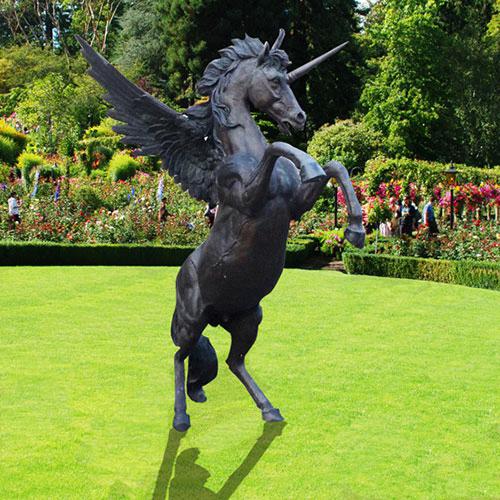 angel unicorn bronze statue