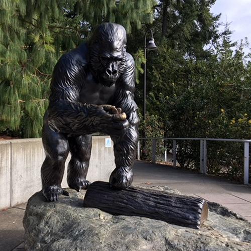 gorilla sculpture bronze standing statue