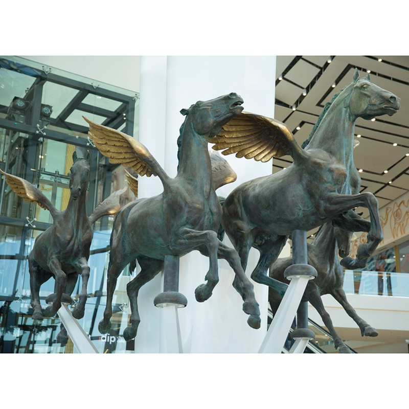 winged horse sculpture flying bronze