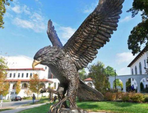 metal eagle sculpture spread wings statue