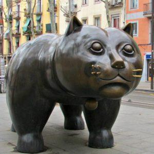 bronze cat statue fat abstract sculpture