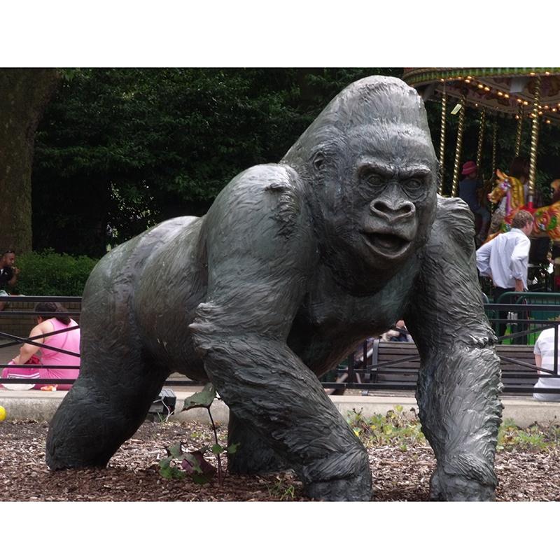 bronze orangutan statue