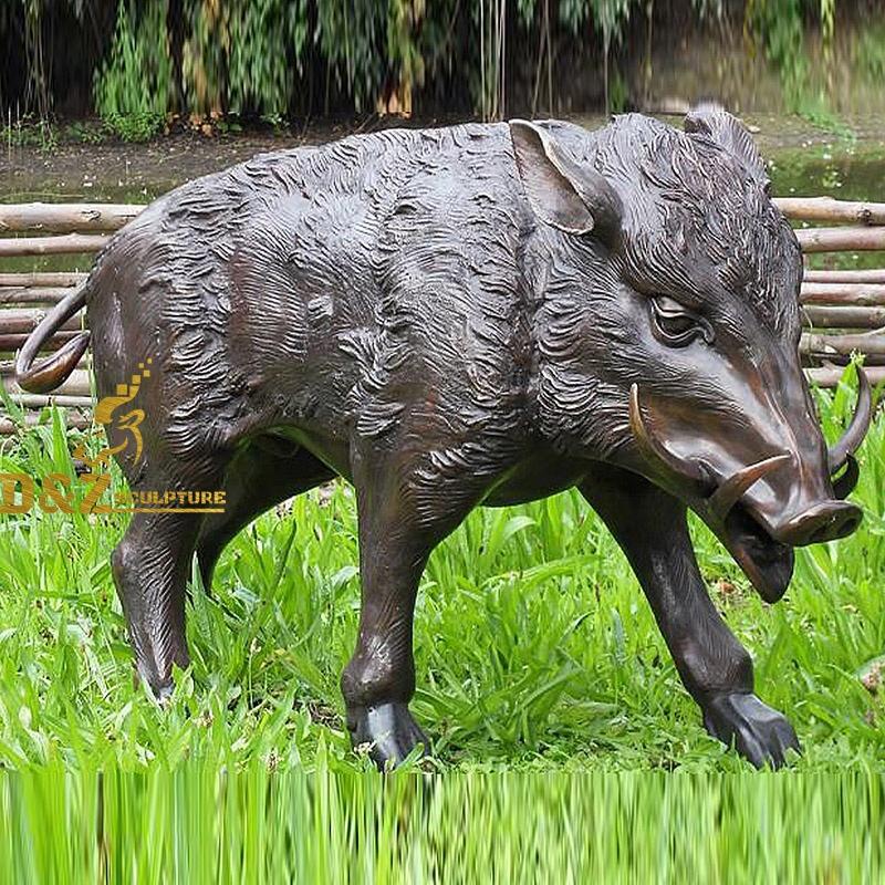 bronze wild boar statue