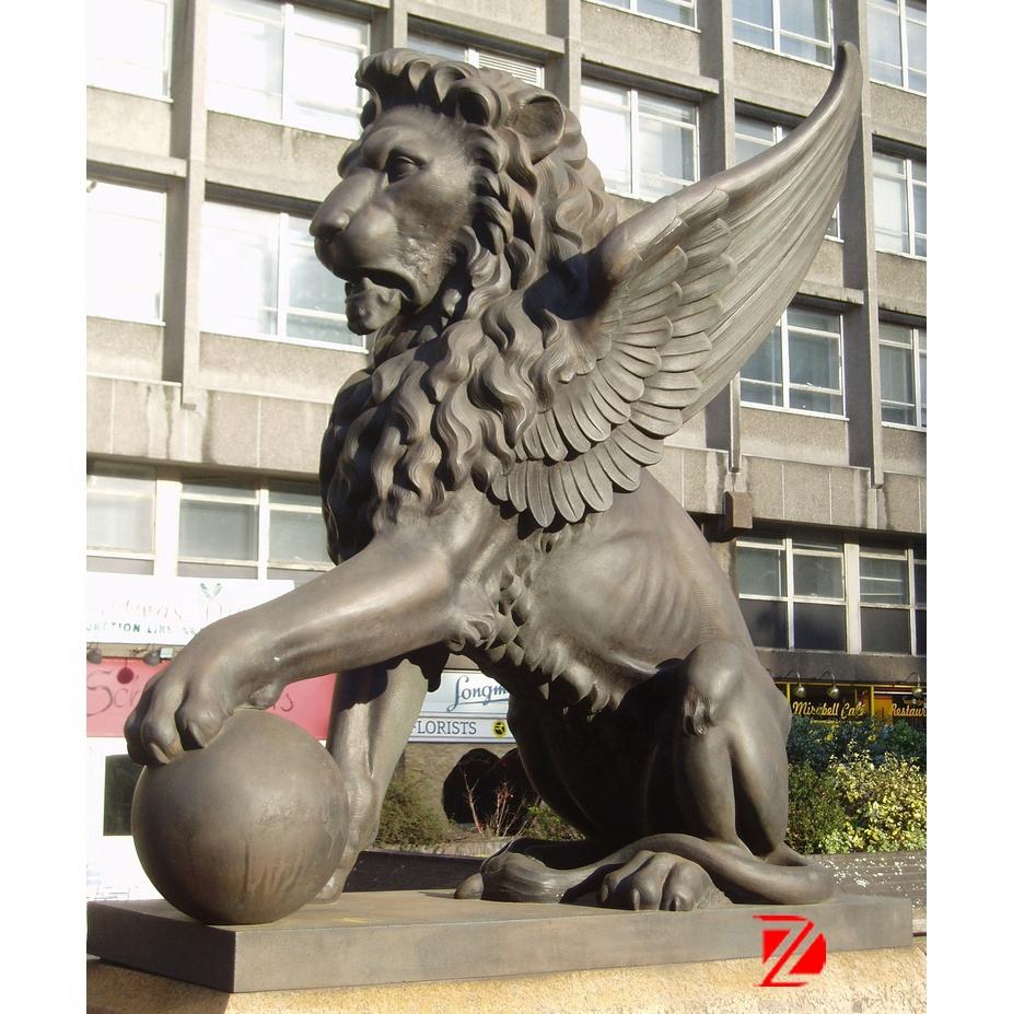 angel lion bronze statue
