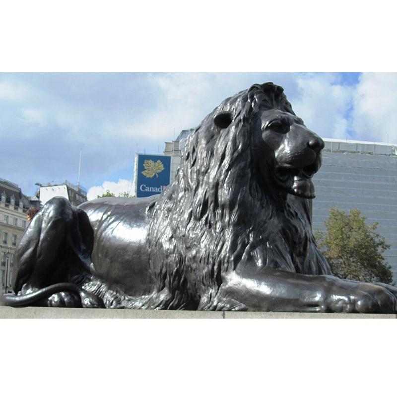 large black lion statue