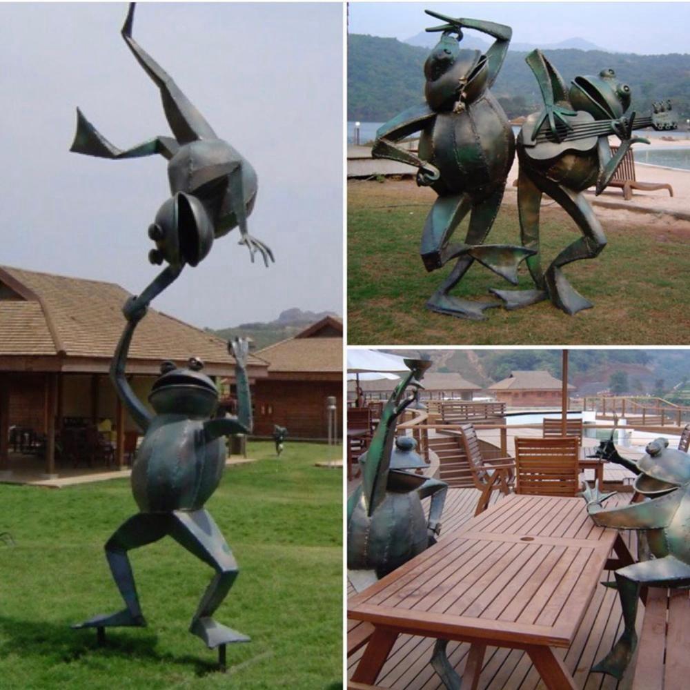 yoga frog statues