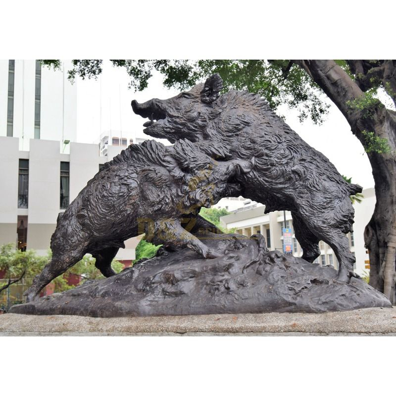 two wild boars sculpture