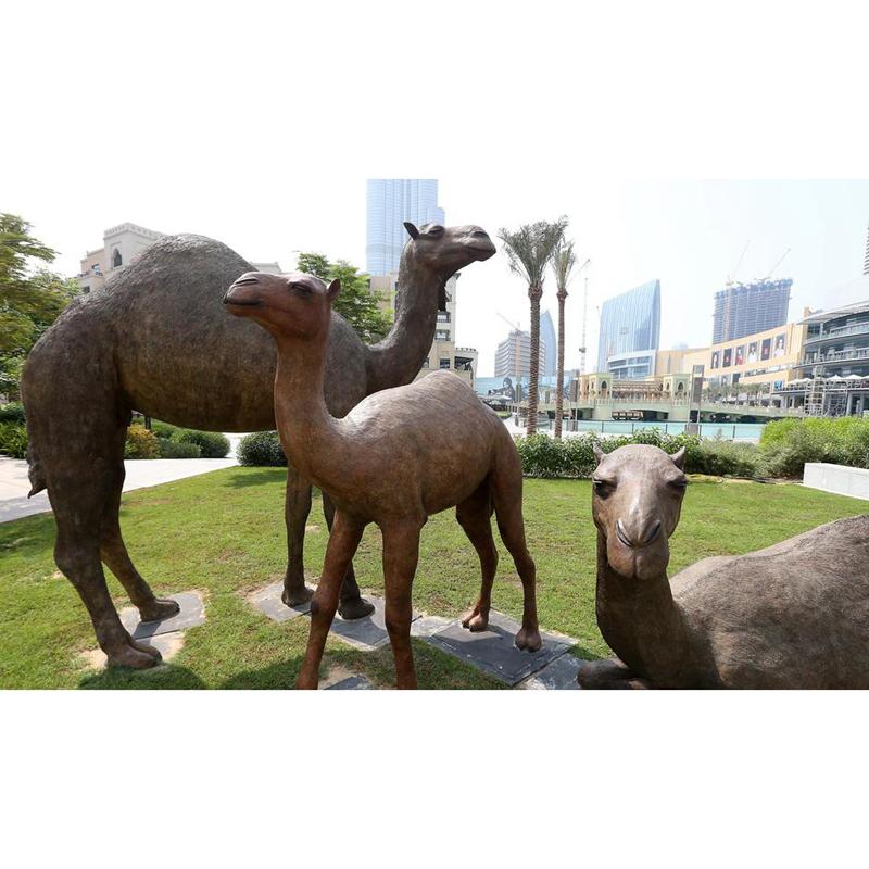 three camel sculptures