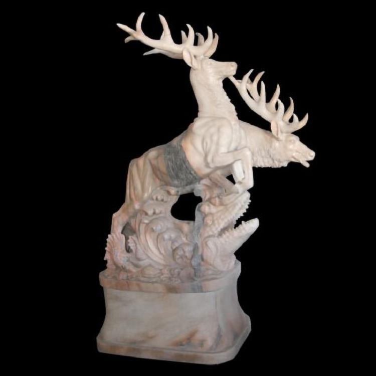Stone deer sculpture