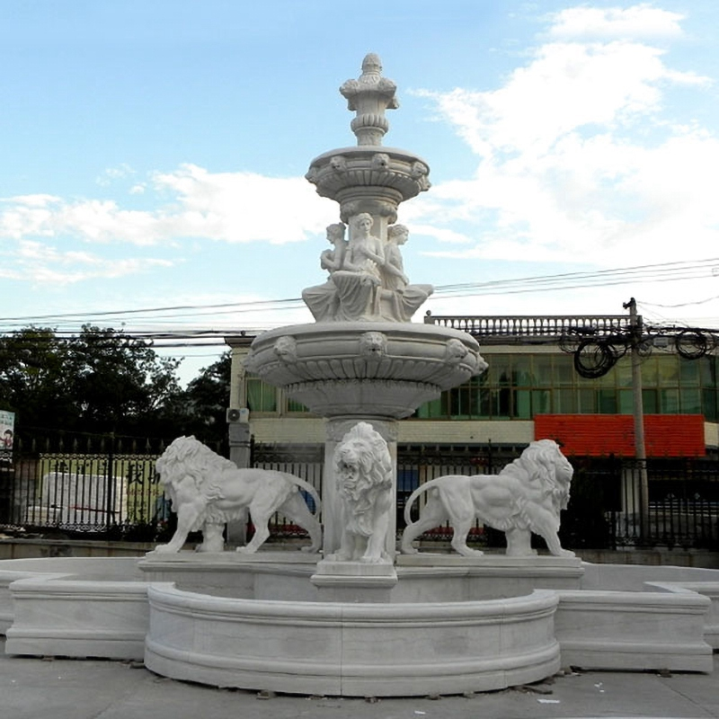 Animal stone lions fountain