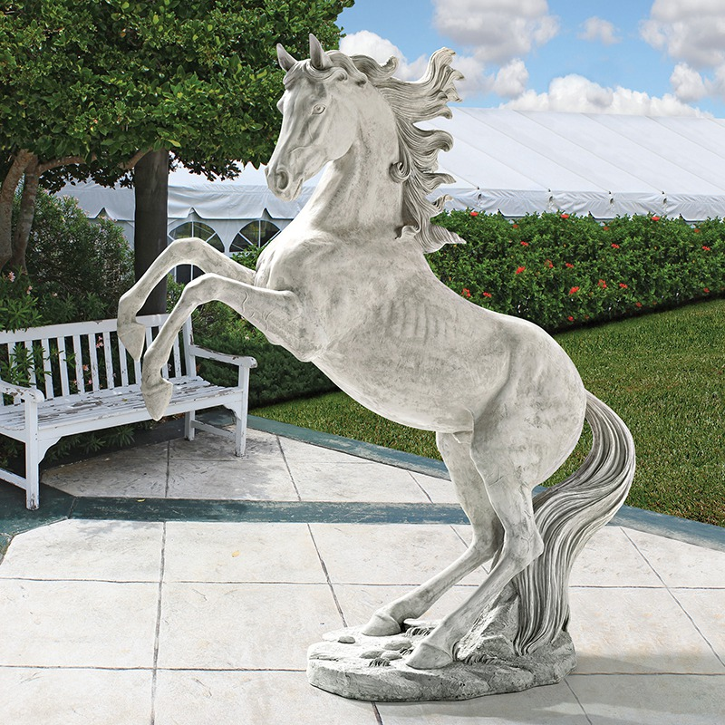 White marble horse sculpture