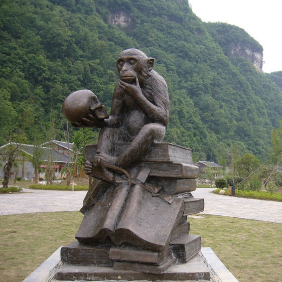 handcrafted porch monkey statue