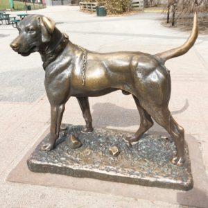 modern metal dog sculpture