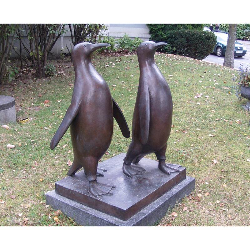 antique double penguins sculpture