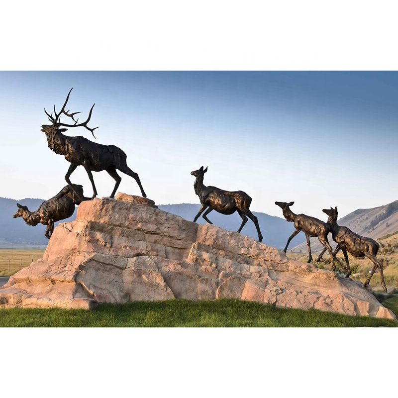 natural metal elks sculpture