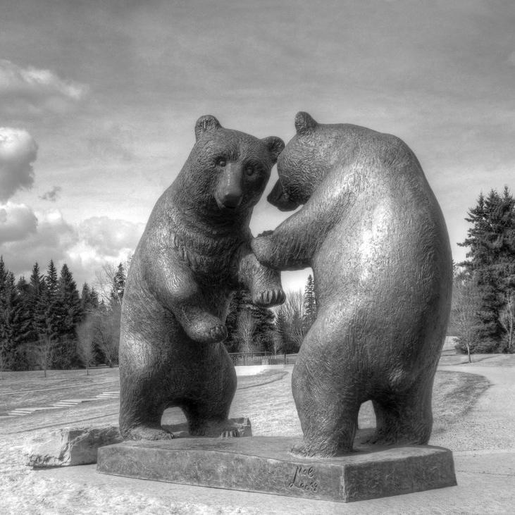 two black bears sculpture