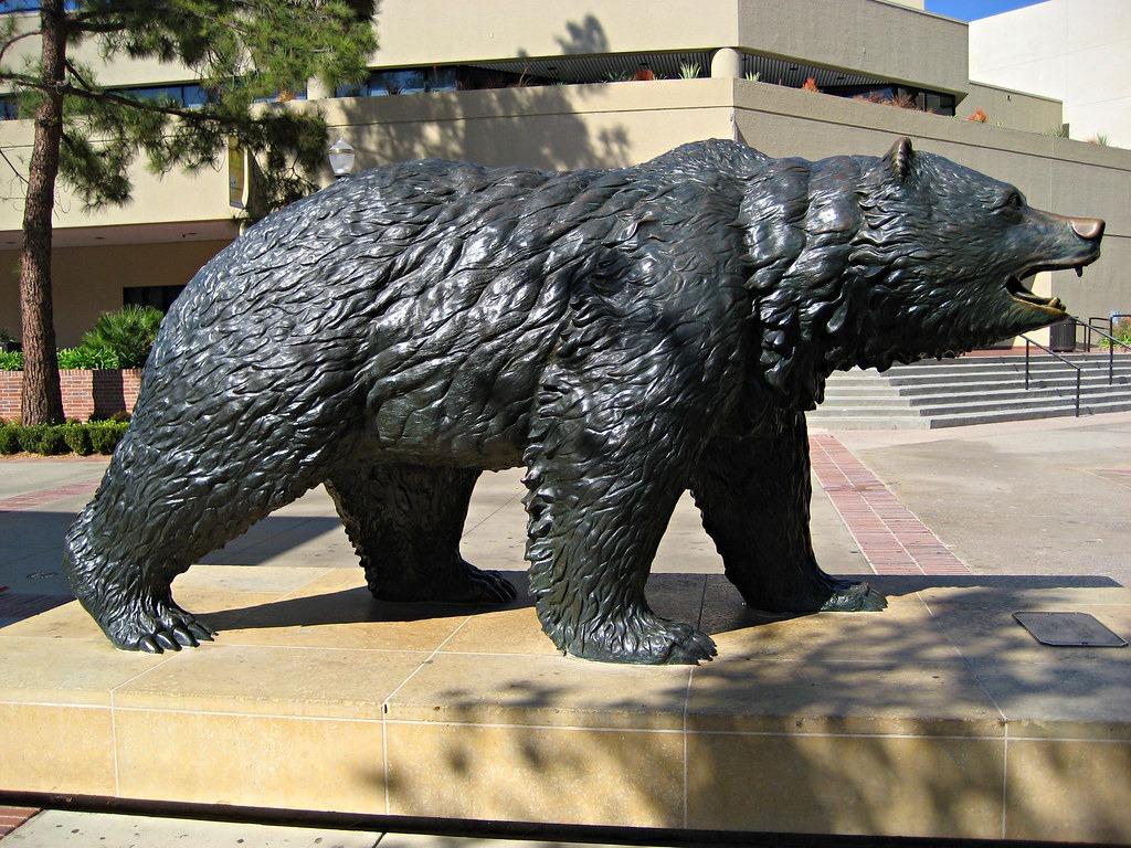 brass bear sculpture