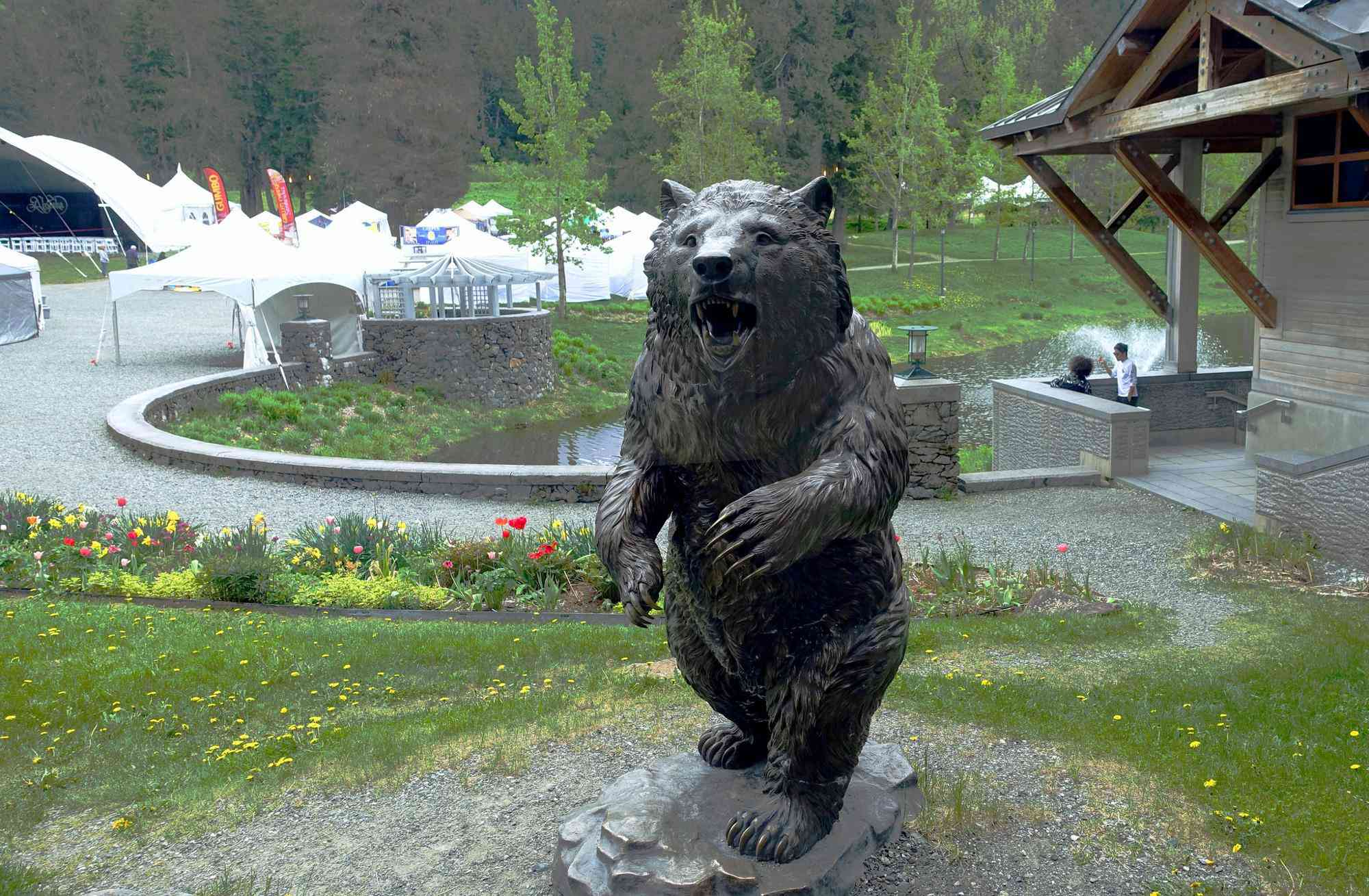 copper bear sculpture