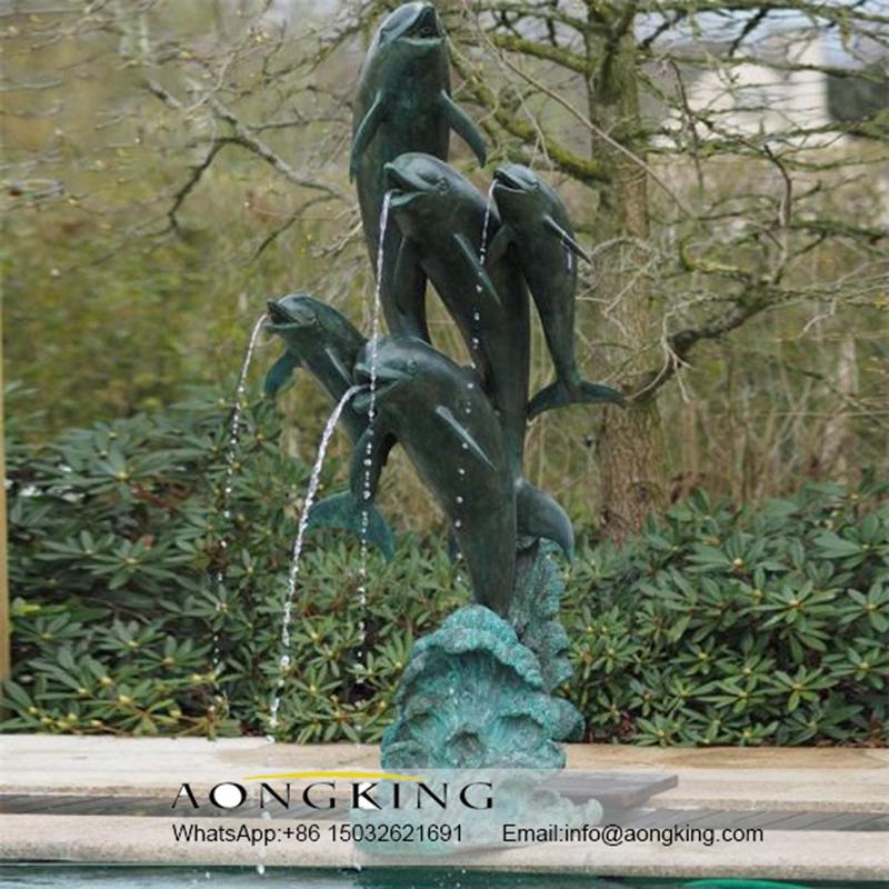 Bronze fish fountain sculpture
