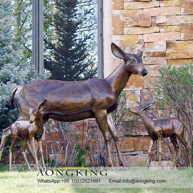 Life size bronze deer statue