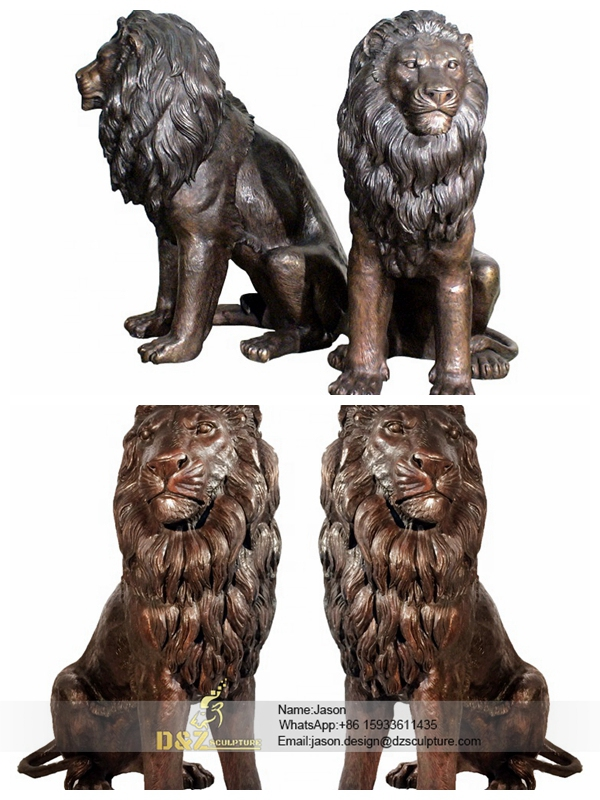 Decoration Brass Lions Statue