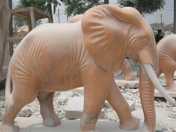 Outdoor marble elephant sculpture