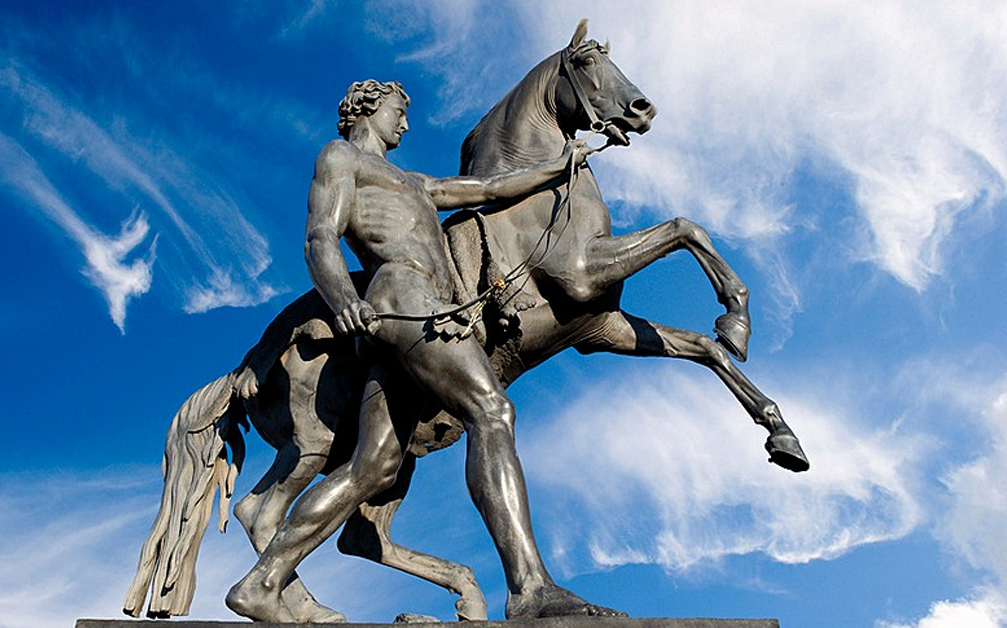 bronze statue horse and man