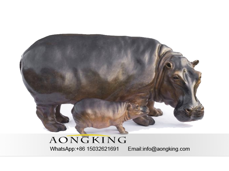 large and small Hippos sculptures
