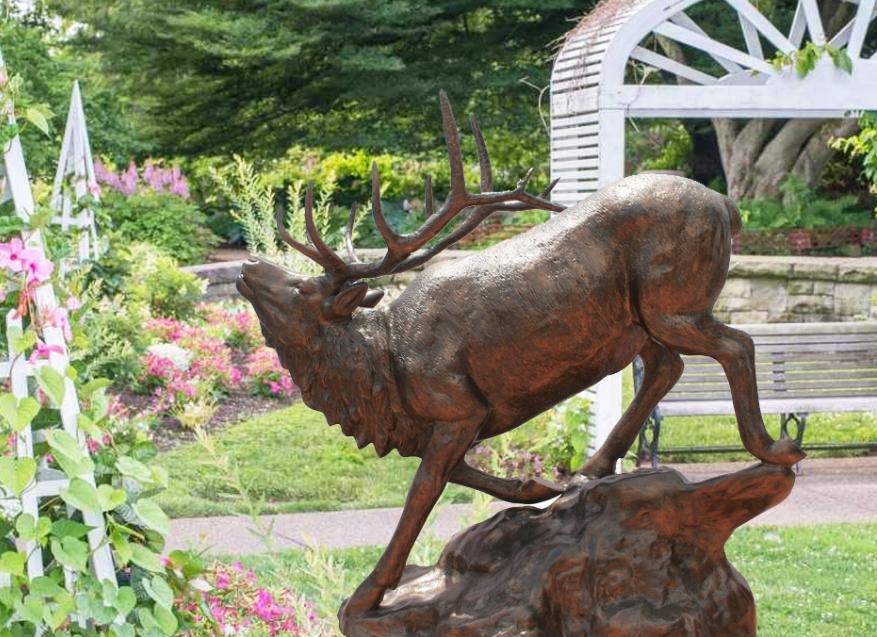 cast metal elk sculpture