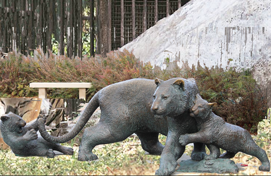 bronze standing tiger sculpture