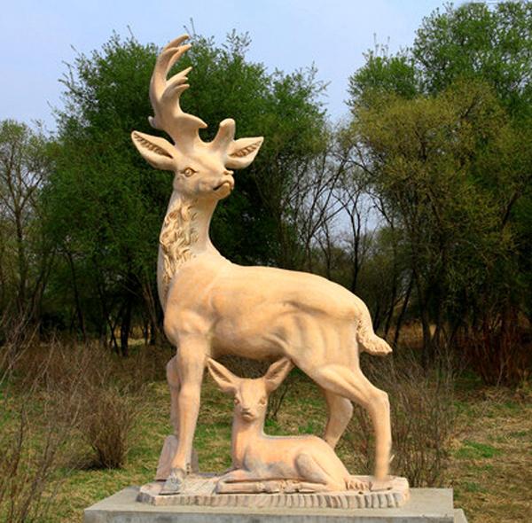 Sika deer stone sculpture