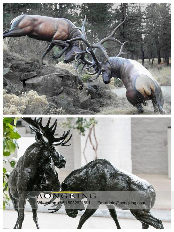 Stag battle vivid Statue