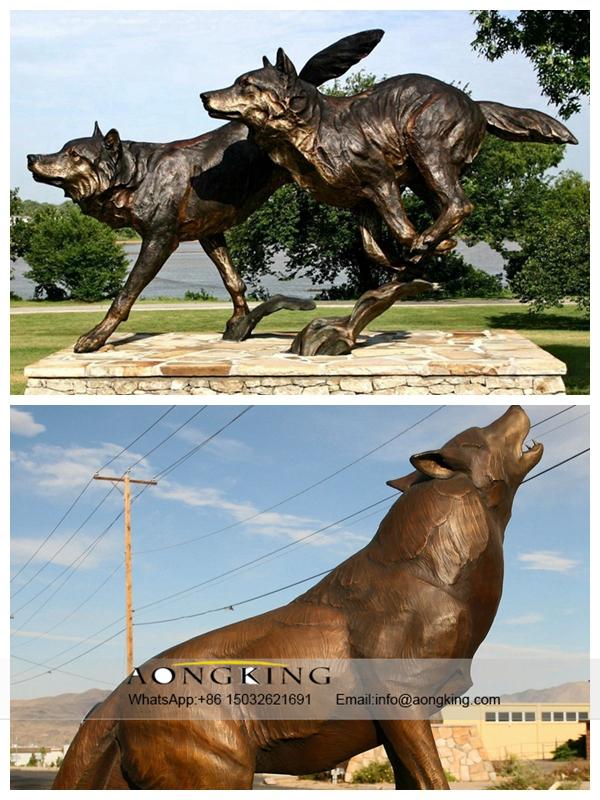 Bronze Wolf For Garden