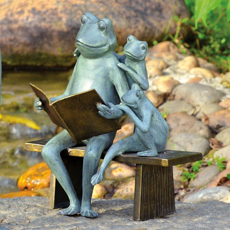 Outdoor bronze frog sculpture