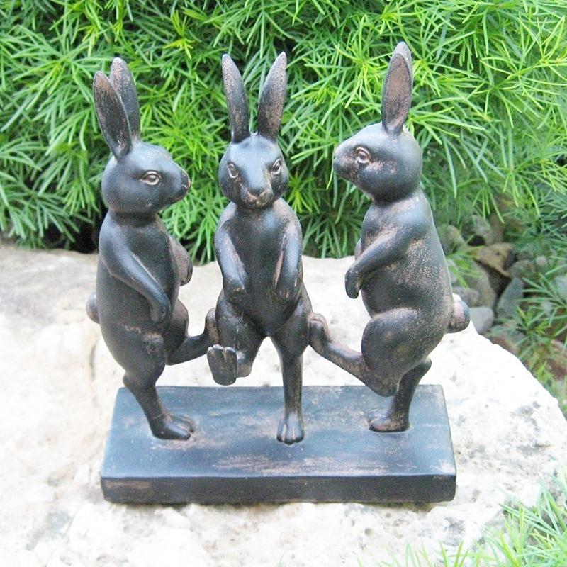 Three rabbits bronze sculpture