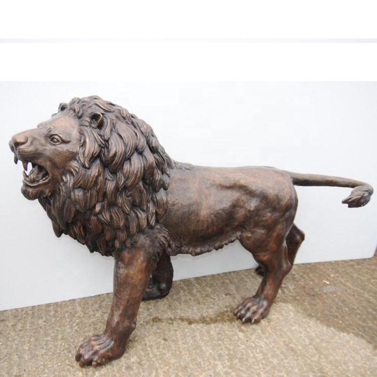 Outdoor bronze lion sculpture
